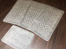 ROMANY WASHABLES NEW GYPSY SETS OF 4PCS SILVER/GREY MATS NON SLIP TOURER SIZES